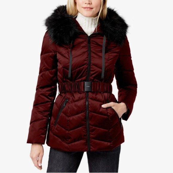 Merlot Tahari Women/'s Asymmetrical Belted Puffer Coat